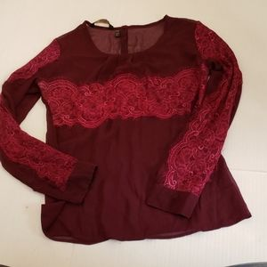 Kardashian Kollection burgundy chiffon blouse
